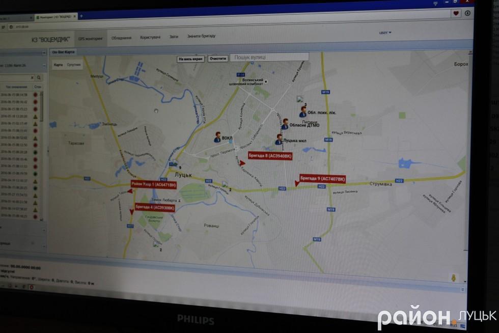 Завдяки системі GPS відслідковуються усі карети швидкої