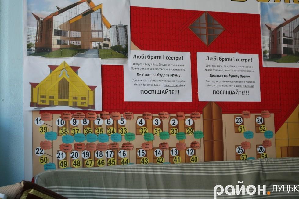 У церкву можна купити одне із 56 вікон, яке назвуть твоїм іменем. За менші вікна треба заплатити 3 тисячі гривень, за більші - 4