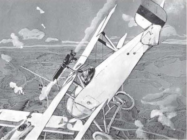 1916, Малюнок Арцеулова. Бій Ньюпора з ворожим літаком. М.Хайрулин Летчики-истребители Первой Мировой войны