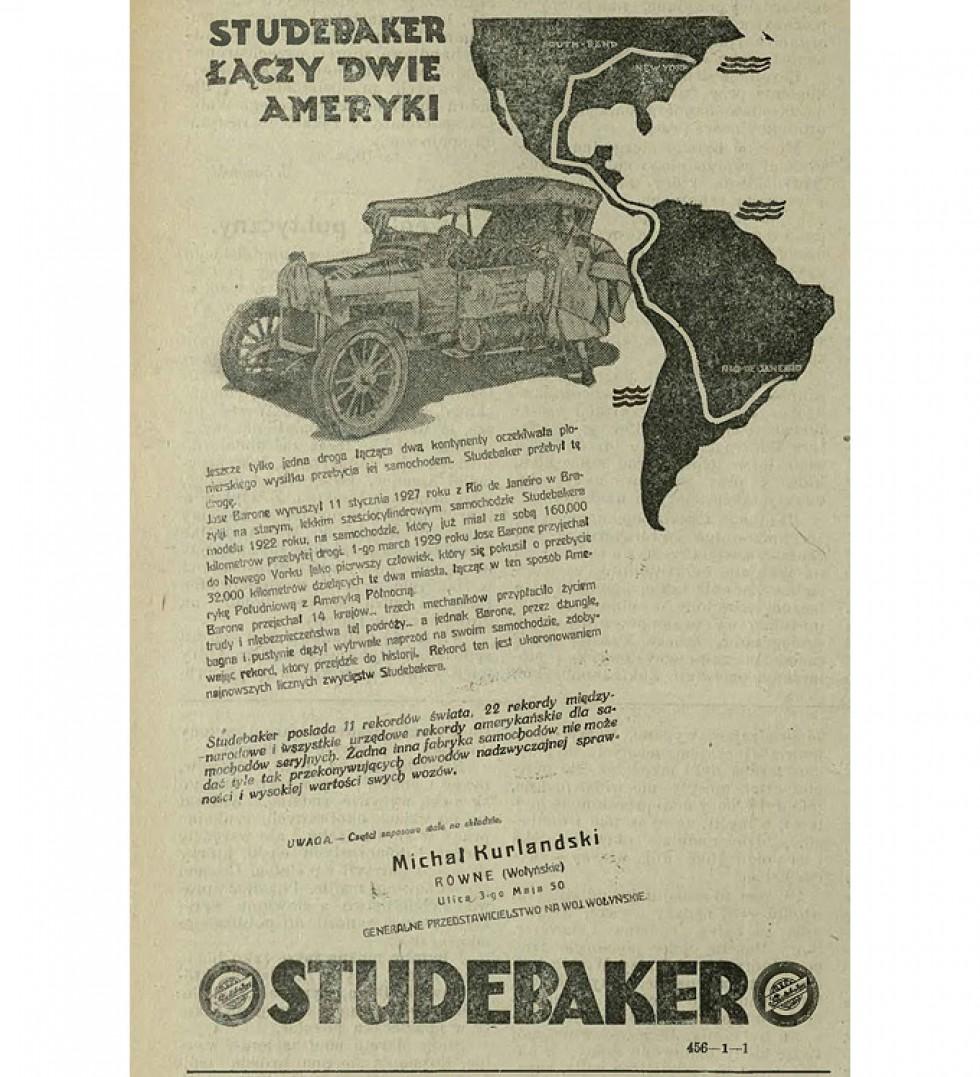 Реклама Студебекерів з часопису «Ziemia Wołyńska» за 23 червня 1929