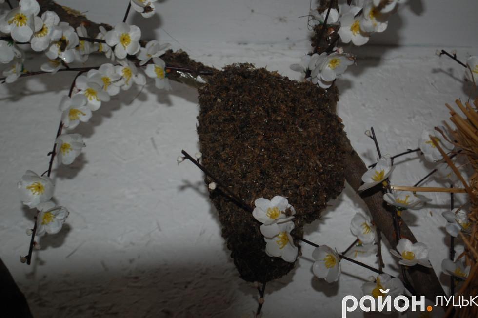 Рій бджіл на дереві в музеї
