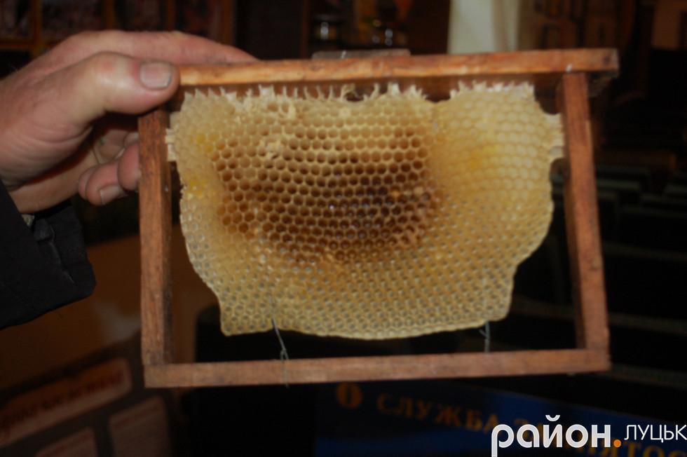 Вощина, яка зберігається в музеї бджільництва
