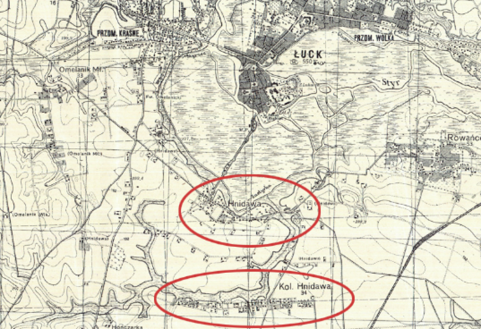 Взаємне розташування Луцька, Гнідави та колонії