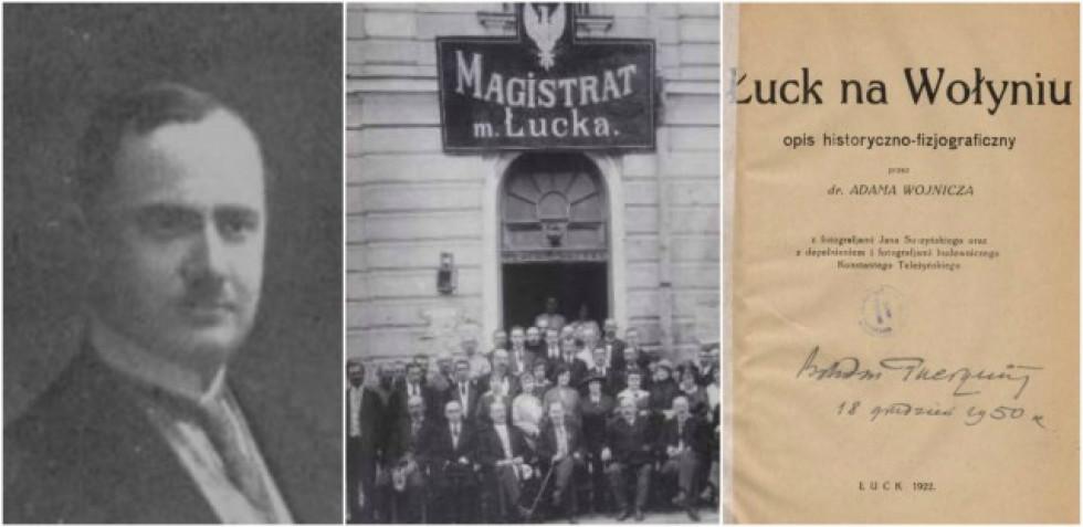 Другий президент (мер) Луцька Ян Сушинський, працівники міського уряду у 1921 році (Сушинський по центру з ціпком), обкладинка книги, у якій використані світлини Сушинського