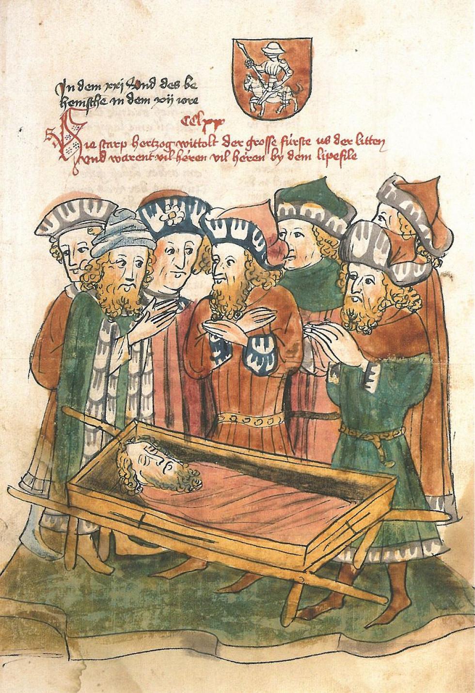 Поховання Вітовта, мініатюра 1443 року
