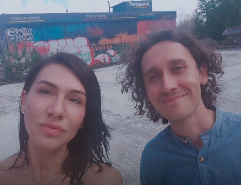 Польський художник Блажей Русин з авторкою