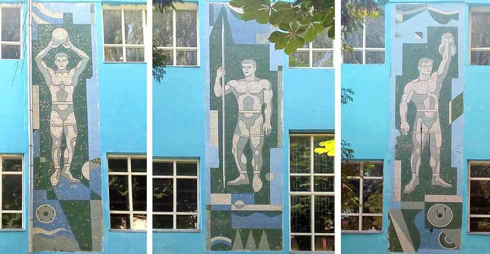 Фасадна та інтер'єрна мозаїки на вулиці Потебні. Леонід Литвин