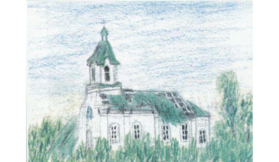 Покровська церква після бурі без даху на малюнку Ірини Левчанівської